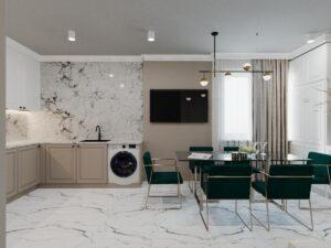 Кухня-студія в стилі мінімалізм та елементами арт-деко